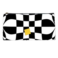 Dropout Yellow Black And White Distorted Check Pencil Cases