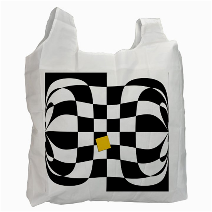 Dropout Yellow Black And White Distorted Check Recycle Bag (Two Side)