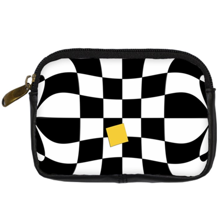 Dropout Yellow Black And White Distorted Check Digital Camera Cases