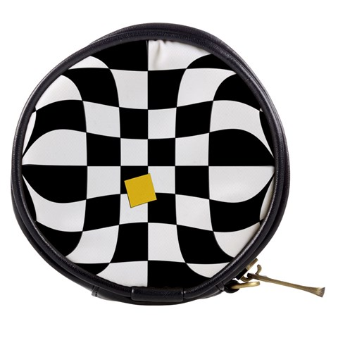 Dropout Yellow Black And White Distorted Check Mini Makeup Bags