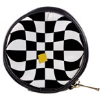 Dropout Yellow Black And White Distorted Check Mini Makeup Bags Front