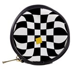 Dropout Yellow Black And White Distorted Check Mini Makeup Bags Back