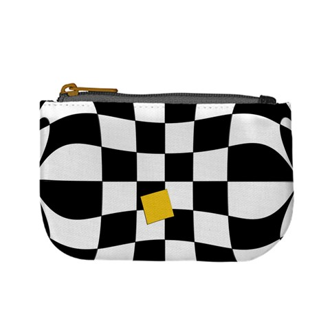 Dropout Yellow Black And White Distorted Check Mini Coin Purses
