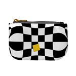Dropout Yellow Black And White Distorted Check Mini Coin Purses Front