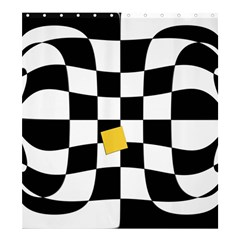 Dropout Yellow Black And White Distorted Check Shower Curtain 66  x 72  (Large)