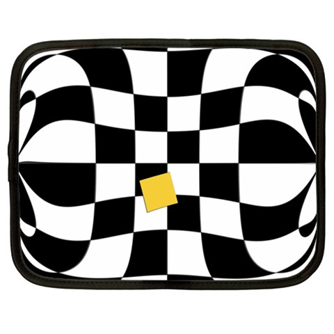 Dropout Yellow Black And White Distorted Check Netbook Case (XL)