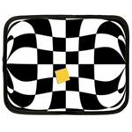 Dropout Yellow Black And White Distorted Check Netbook Case (XL)  Front