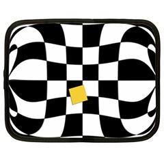 Dropout Yellow Black And White Distorted Check Netbook Case (XXL)