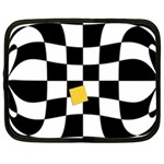 Dropout Yellow Black And White Distorted Check Netbook Case (XXL)  Front