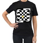Dropout Yellow Black And White Distorted Check Women s T-Shirt (Black) Front