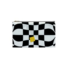 Dropout Yellow Black And White Distorted Check Cosmetic Bag (Small)