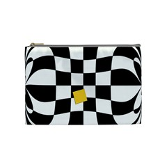 Dropout Yellow Black And White Distorted Check Cosmetic Bag (Medium)