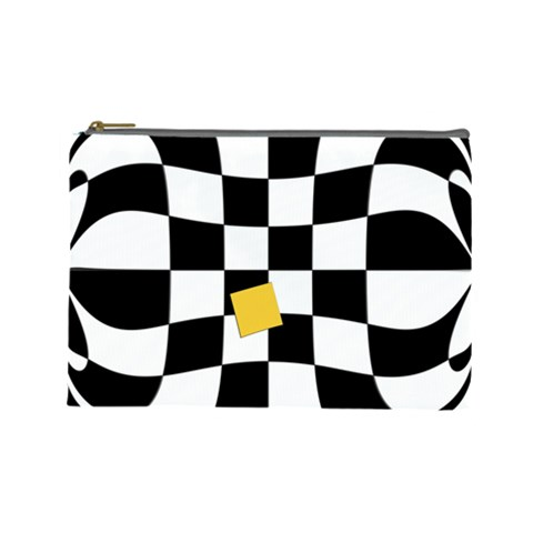 Dropout Yellow Black And White Distorted Check Cosmetic Bag (Large)