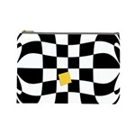 Dropout Yellow Black And White Distorted Check Cosmetic Bag (Large)  Front