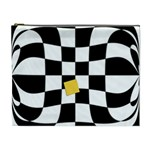 Dropout Yellow Black And White Distorted Check Cosmetic Bag (XL) Front