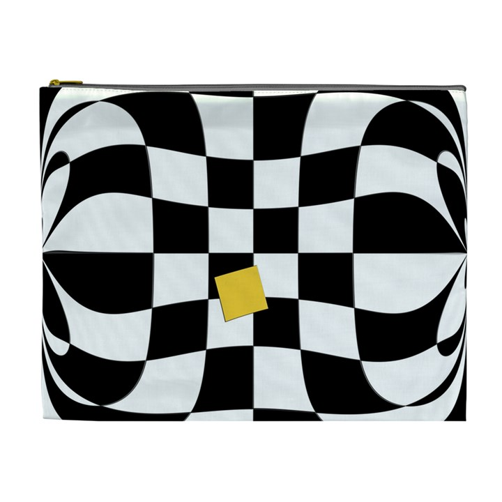 Dropout Yellow Black And White Distorted Check Cosmetic Bag (XL)