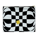 Dropout Yellow Black And White Distorted Check Cosmetic Bag (XL) Back