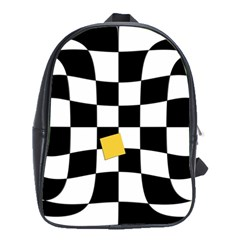Dropout Yellow Black And White Distorted Check School Bags(Large)