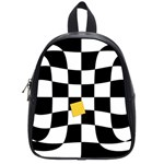 Dropout Yellow Black And White Distorted Check School Bags (Small)  Front