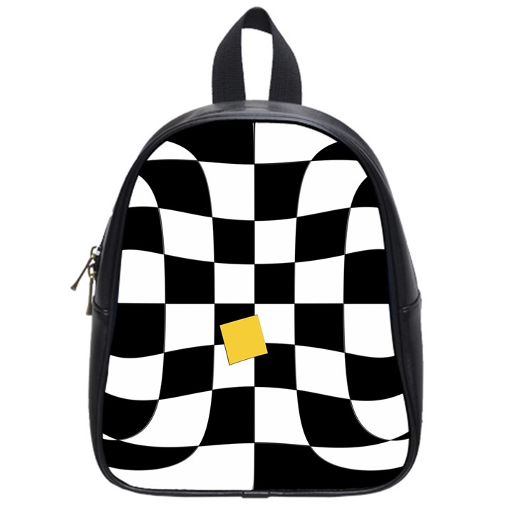 Dropout Yellow Black And White Distorted Check School Bags (Small)