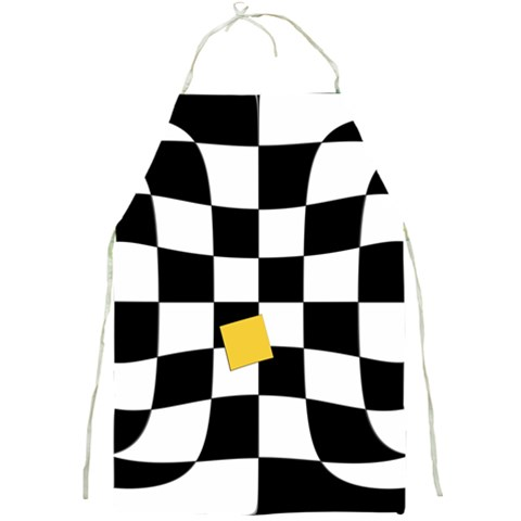 Dropout Yellow Black And White Distorted Check Full Print Aprons