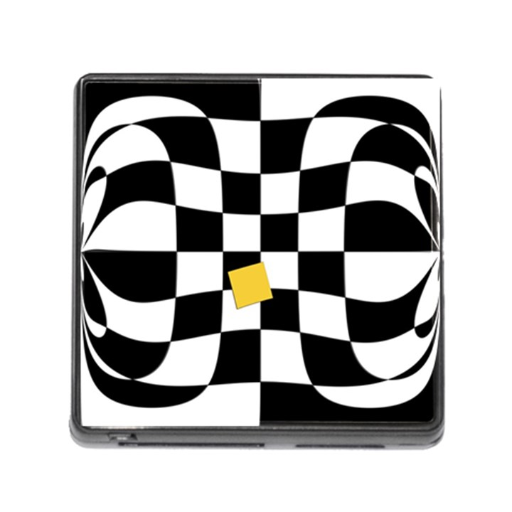 Dropout Yellow Black And White Distorted Check Memory Card Reader (Square)
