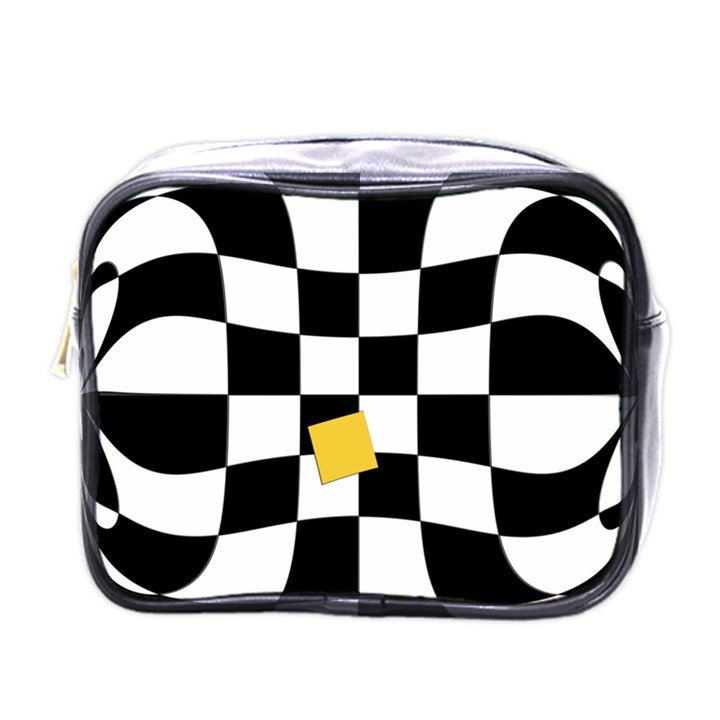 Dropout Yellow Black And White Distorted Check Mini Toiletries Bags