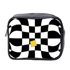 Dropout Yellow Black And White Distorted Check Mini Toiletries Bag 2-Side