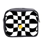 Dropout Yellow Black And White Distorted Check Mini Toiletries Bag 2-Side Back