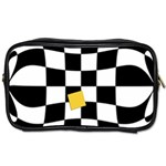 Dropout Yellow Black And White Distorted Check Toiletries Bags Front