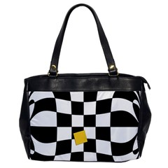 Dropout Yellow Black And White Distorted Check Office Handbags