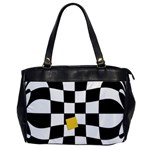 Dropout Yellow Black And White Distorted Check Office Handbags Front
