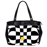 Dropout Yellow Black And White Distorted Check Office Handbags (2 Sides)  Front