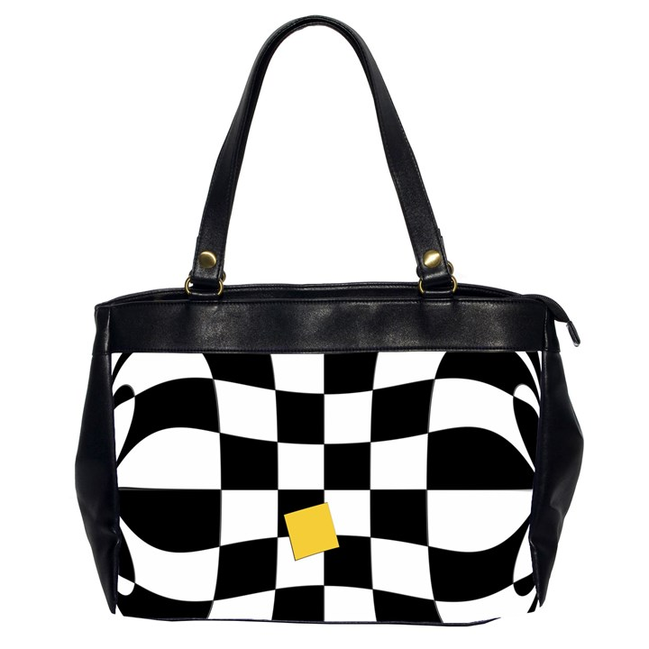 Dropout Yellow Black And White Distorted Check Office Handbags (2 Sides)