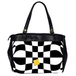 Dropout Yellow Black And White Distorted Check Office Handbags (2 Sides)  Back