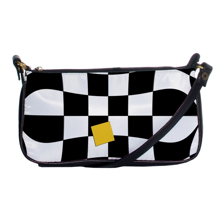 Dropout Yellow Black And White Distorted Check Shoulder Clutch Bags