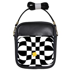 Dropout Yellow Black And White Distorted Check Girls Sling Bags