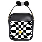 Dropout Yellow Black And White Distorted Check Girls Sling Bags Front