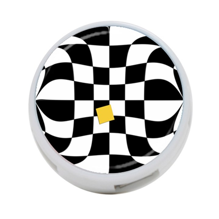Dropout Yellow Black And White Distorted Check 4-Port USB Hub (One Side)