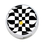 Dropout Yellow Black And White Distorted Check 4-Port USB Hub (Two Sides)  Back