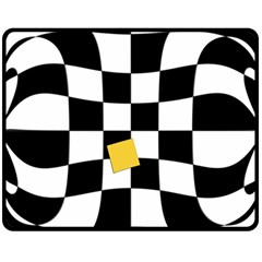 Dropout Yellow Black And White Distorted Check Fleece Blanket (Medium)