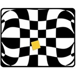 Dropout Yellow Black And White Distorted Check Fleece Blanket (Medium)  60 x50 Blanket Front