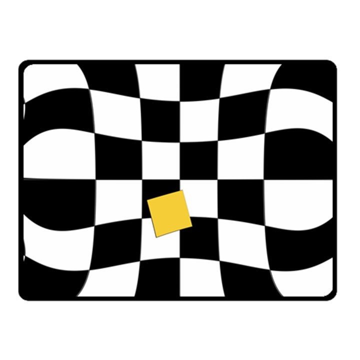 Dropout Yellow Black And White Distorted Check Fleece Blanket (Small)