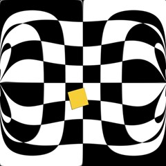 Dropout Yellow Black And White Distorted Check Magic Photo Cubes