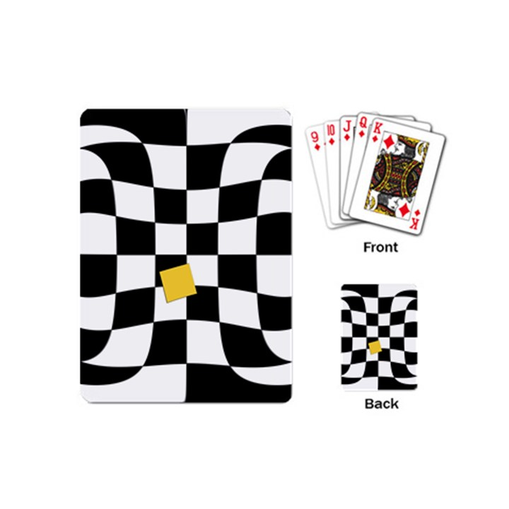 Dropout Yellow Black And White Distorted Check Playing Cards (Mini)