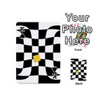 Dropout Yellow Black And White Distorted Check Playing Cards 54 (Mini)  Front - SpadeK