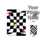 Dropout Yellow Black And White Distorted Check Playing Cards 54 (Mini)  Front - HeartJ
