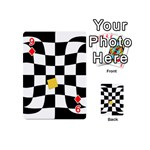 Dropout Yellow Black And White Distorted Check Playing Cards 54 (Mini)  Front - Diamond9