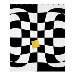 Dropout Yellow Black And White Distorted Check Shower Curtain 60  x 72  (Medium)