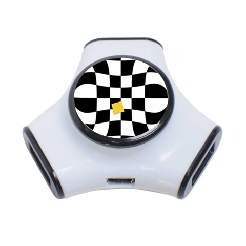 Dropout Yellow Black And White Distorted Check 3-Port USB Hub